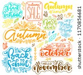 set of autumn lettering. hand... | Shutterstock .eps vector #1170856681