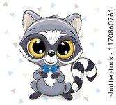 cute cartoon raccoon with a... | Shutterstock .eps vector #1170860761