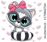 cute cartoon raccoon girl on a... | Shutterstock .eps vector #1170860764
