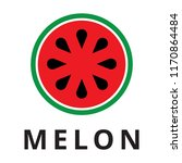 watermelon logo. flat stile... | Shutterstock .eps vector #1170864484