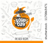 soup of the day  sketch style... | Shutterstock .eps vector #1170865471