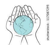 world in hand responsibility... | Shutterstock .eps vector #117087295