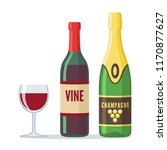 bottles of red wine and... | Shutterstock .eps vector #1170877627