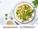 vegan pasta. whole grain pasta... | Shutterstock . vector #1170903127
