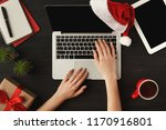Woman\'s Hands On Laptop. Work...