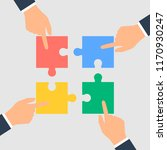 business hands putting puzzle... | Shutterstock . vector #1170930247