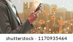 mobile phone network and... | Shutterstock . vector #1170935464