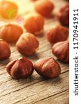 hazelnuts on wooden table | Shutterstock . vector #1170941911