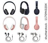 headphones icon set. realistic... | Shutterstock .eps vector #1170943204
