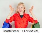 beautiful blonde female... | Shutterstock . vector #1170955921