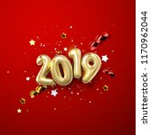realistic 2019 golden numbers... | Shutterstock .eps vector #1170962044