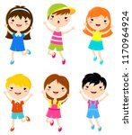 happy kids jumping. boys and... | Shutterstock .eps vector #1170964924