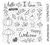 hand drawn autumn pattern set... | Shutterstock .eps vector #1170967417