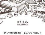 italian desserts illustrations... | Shutterstock .eps vector #1170975874