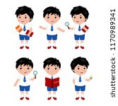 collection of little boys in... | Shutterstock .eps vector #1170989341