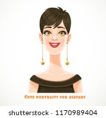 beautiful brunette woman with a ... | Shutterstock .eps vector #1170989404