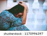 beautiful thai woman very sad... | Shutterstock . vector #1170996397