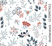 hand drawn floral winter...