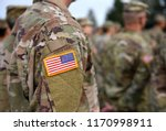 USA patch flag on soldiers arm. US troops