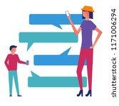 mobile messenger concept. man...   Shutterstock .eps vector #1171006294