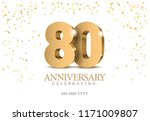 anniversary 80. gold 3d numbers.... | Shutterstock .eps vector #1171009807