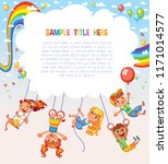 Kid weighs on the rings upside down. Climbing up along the rope. Swinging on swing. Template is ready for advertising of children