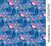 jacobean floral illustration. ... | Shutterstock .eps vector #1171024741