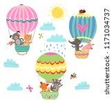 flying animals cute illustration | Shutterstock .eps vector #1171034737