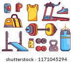gym and fitness icon set with...   Shutterstock .eps vector #1171045294
