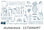 smoothie doodles set. healthy... | Shutterstock .eps vector #1171046497
