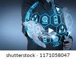 digital marketing media ... | Shutterstock . vector #1171058047