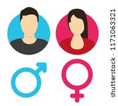 vector male and female icon set | Shutterstock .eps vector #1171063321