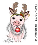 vector pig with christmas horns ... | Shutterstock .eps vector #1171071967