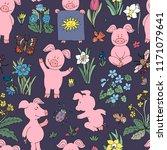 seamless pig collection set.... | Shutterstock . vector #1171079641
