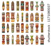 tiki idols icon set. cartoon... | Shutterstock .eps vector #1171080037