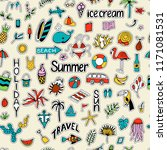 seamless pattern with summer... | Shutterstock . vector #1171081531
