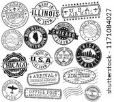 chicago illinois usa stamp... | Shutterstock .eps vector #1171084027