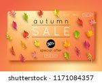 autumn sale banner layout... | Shutterstock .eps vector #1171084357