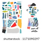 set with paper cut pieces.... | Shutterstock .eps vector #1171090297