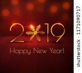 happy new year 2019 text design.... | Shutterstock .eps vector #1171090717