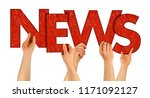 news people holding up red... | Shutterstock . vector #1171092127