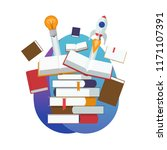 pile of open and closed books.... | Shutterstock .eps vector #1171107391