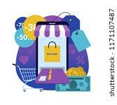 online shopping via smartphone. ... | Shutterstock .eps vector #1171107487