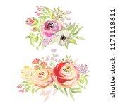 beautiful watercolor flowers...   Shutterstock . vector #1171118611