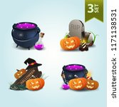 set of halloween icons. witch's ... | Shutterstock .eps vector #1171138531