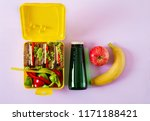healthy school lunch box with... | Shutterstock . vector #1171188421