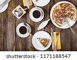 chocolate cheesecake and coffee ... | Shutterstock . vector #1171188547