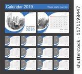 2019 calendar. desk calendar... | Shutterstock .eps vector #1171198447