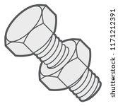 hex bolt and nut. vector... | Shutterstock .eps vector #1171212391