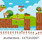 game design with safari boy... | Shutterstock .eps vector #1171213267